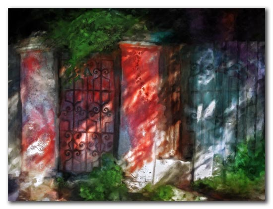 red gate to overgrown courtyard