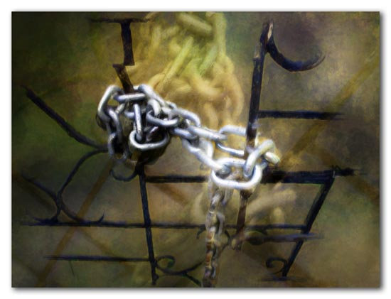 lock and chain on gate